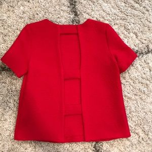 Red structured shirt with open back